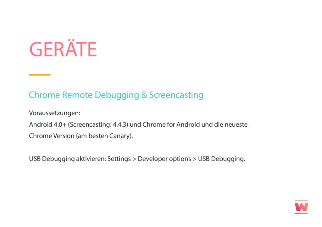 GERÄTE Chrome Remote Debugging & Screencasting ...
