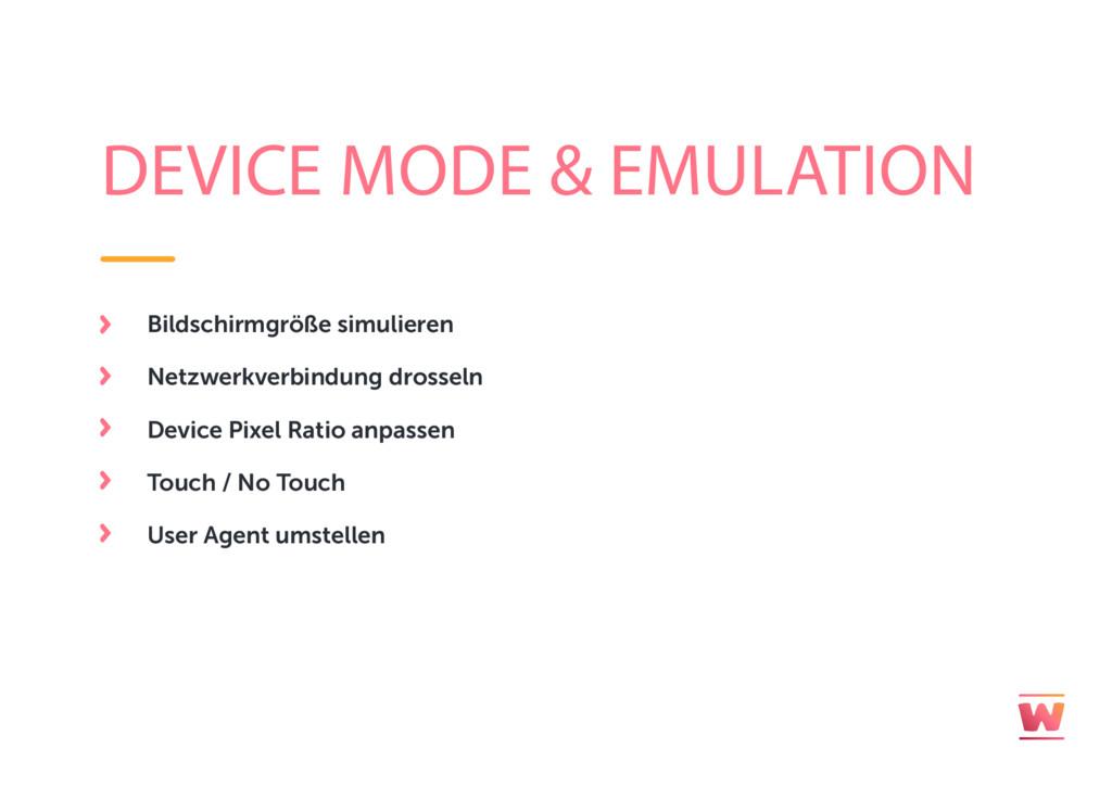 DEVICE MODE & EMULATION Bildschirmgröße simulie...