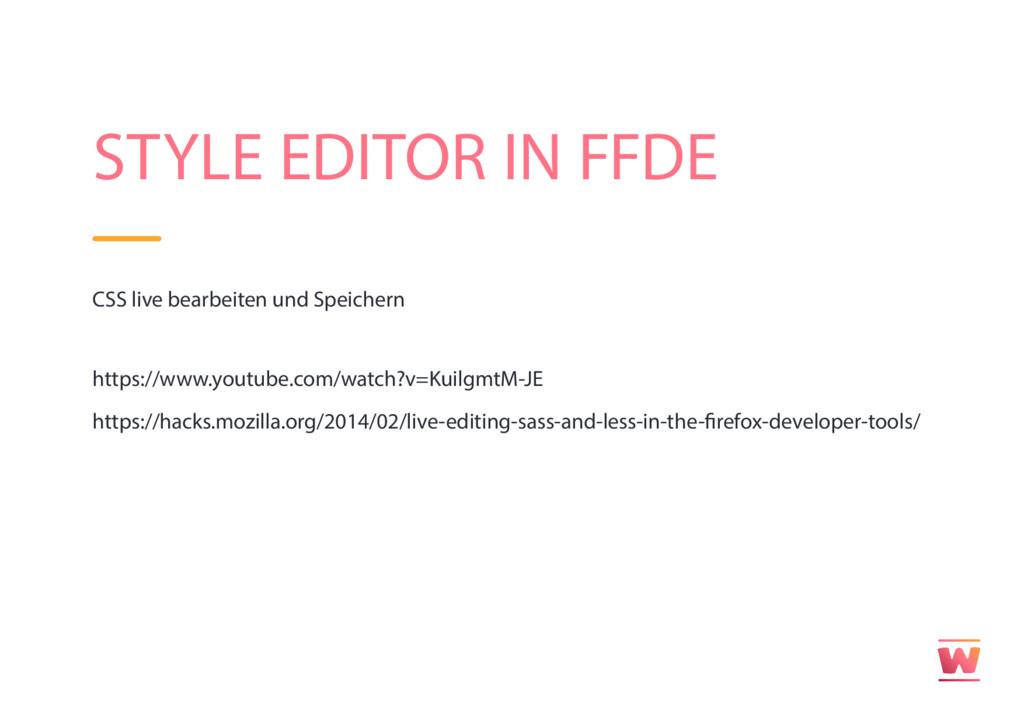 STYLE EDITOR IN FFDE CSS live bearbeiten und Sp...