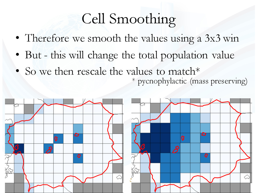 Cell Smoothing • Therefore we smooth the values...