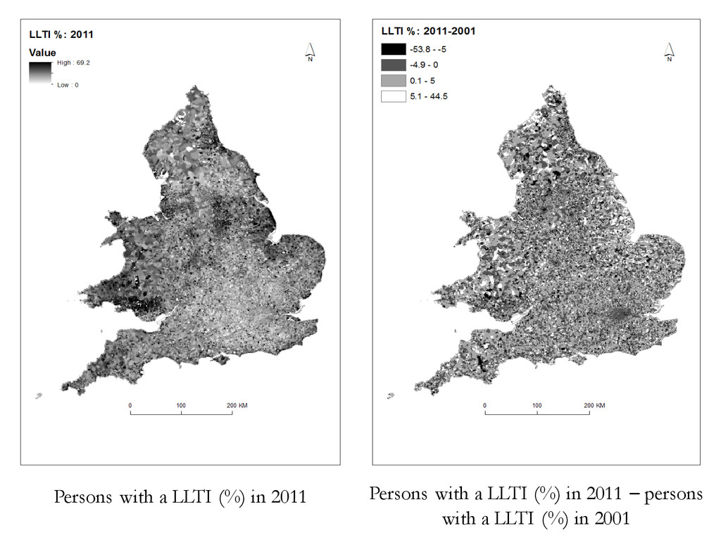 Persons with a LLTI (%) in 2011 Persons with a ...
