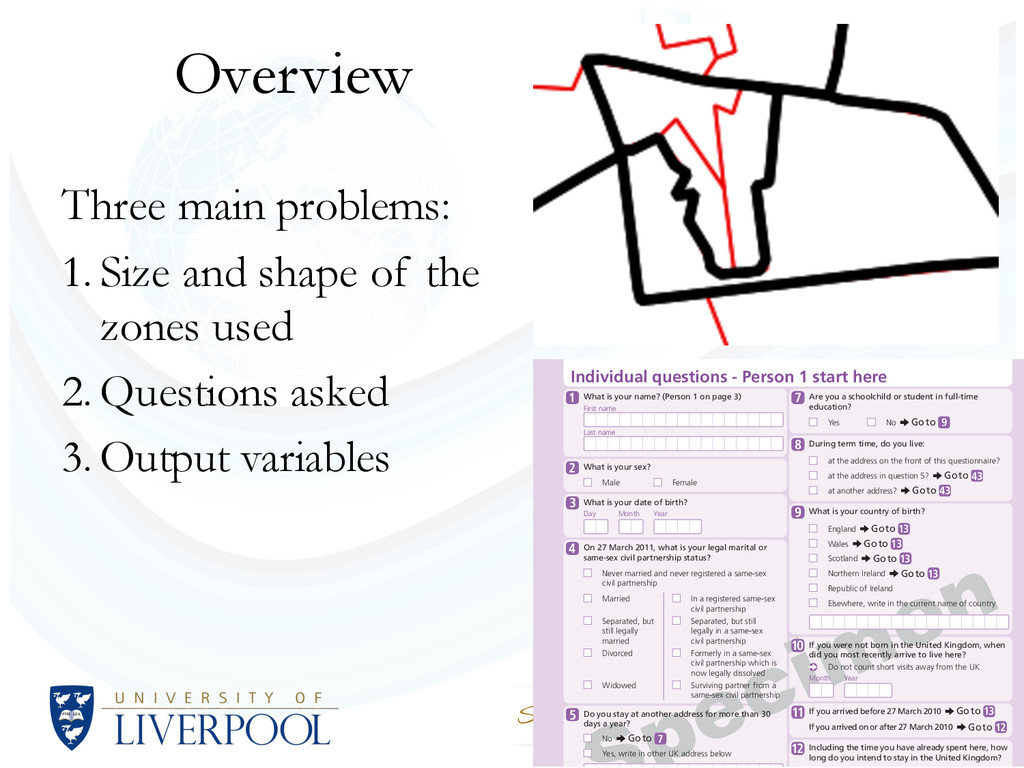 Overview Three main problems: 1. Size and shape...