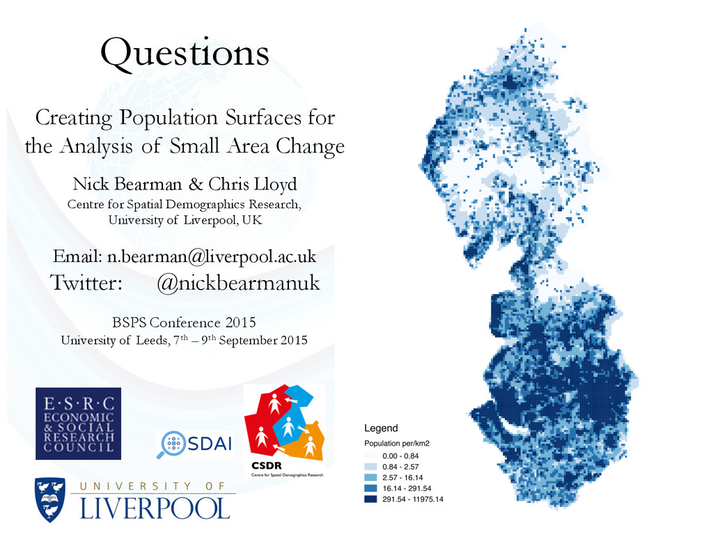 Questions Creating Population Surfaces for the ...