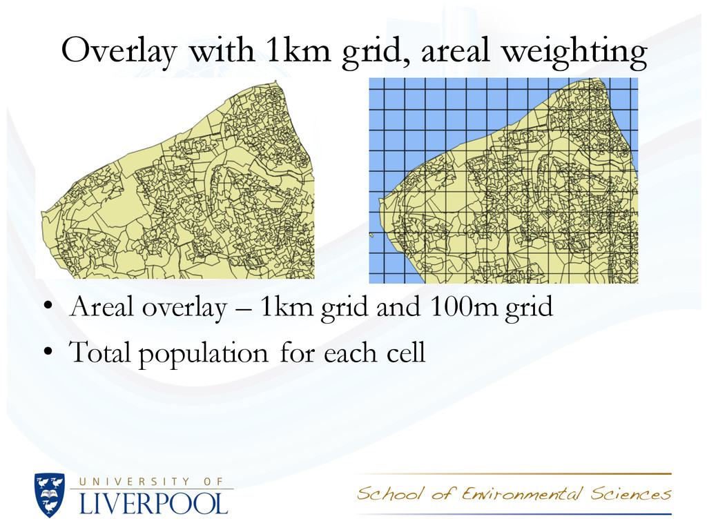 Overlay with 1km grid, areal weighting • Areal ...