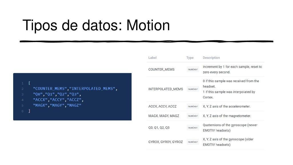 Tipos de datos: Motion