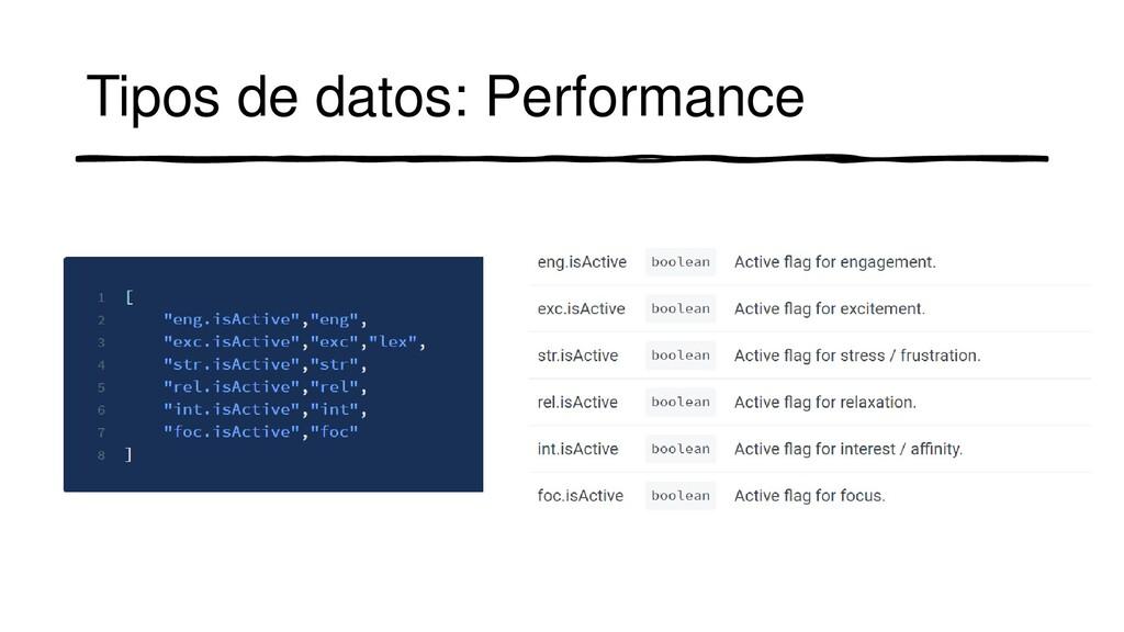 Tipos de datos: Performance