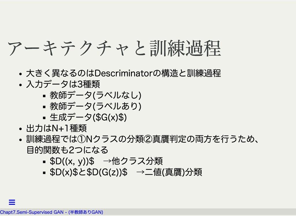 アーキテクチャと訓練過程 アーキテクチャと訓練過程 ⼤きく異なるのはDescriminator...