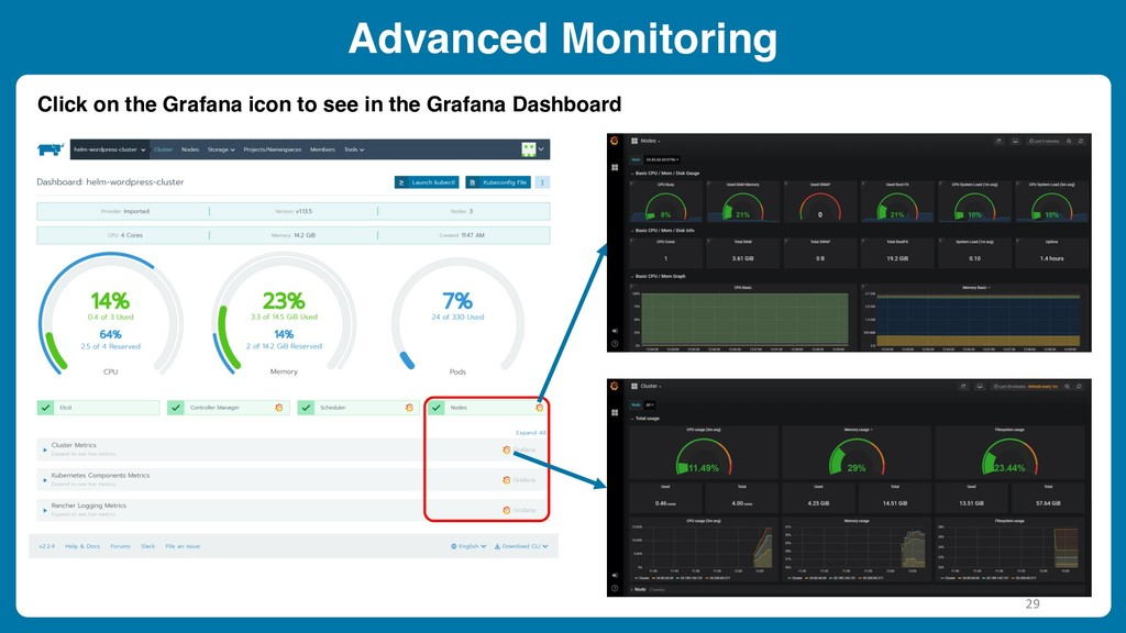 Advanced Monitoring Click on the Grafana icon t...