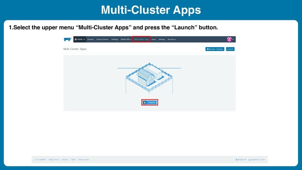 """Multi-Cluster Apps 1.Select the upper menu """"Mul..."""