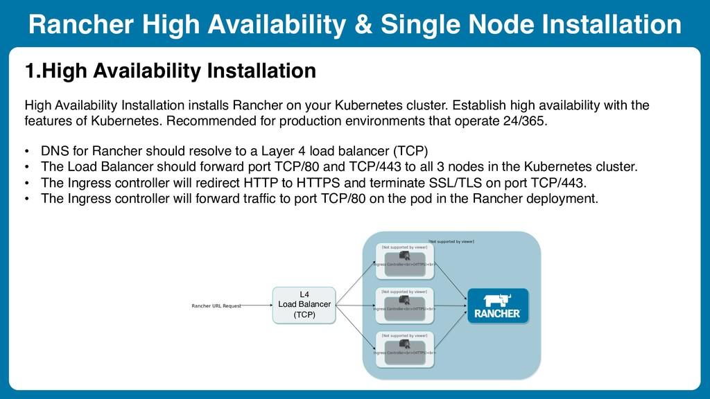 Rancher High Availability & Single Node Install...