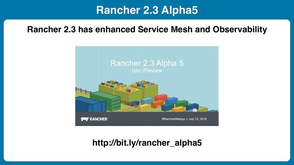 Rancher 2.3 Alpha5 Rancher 2.3 has enhanced Ser...