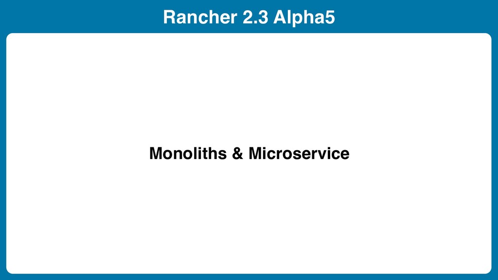 Rancher 2.3 Alpha5 Monoliths & Microservice