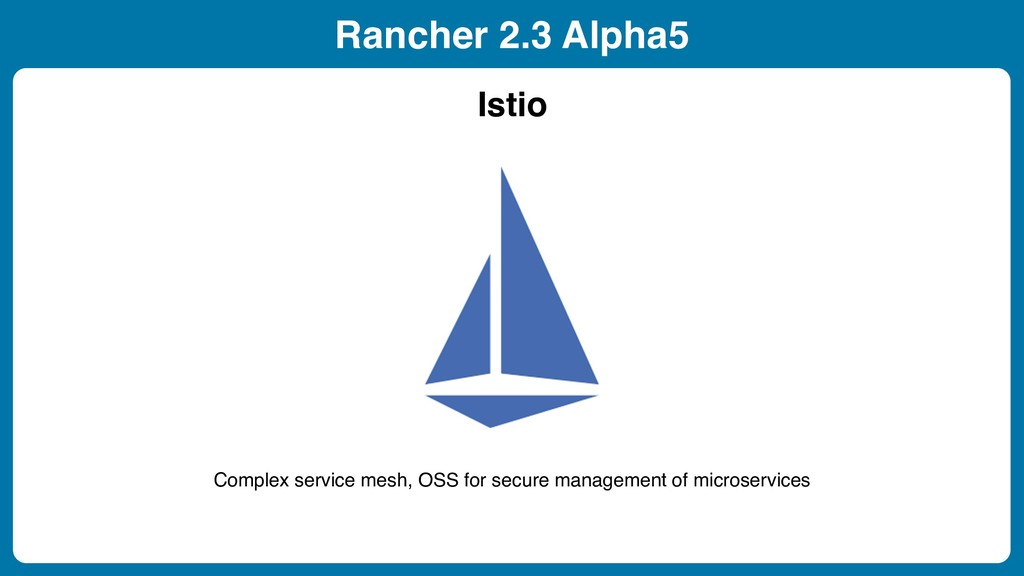 Rancher 2.3 Alpha5 Istio Complex service mesh, ...