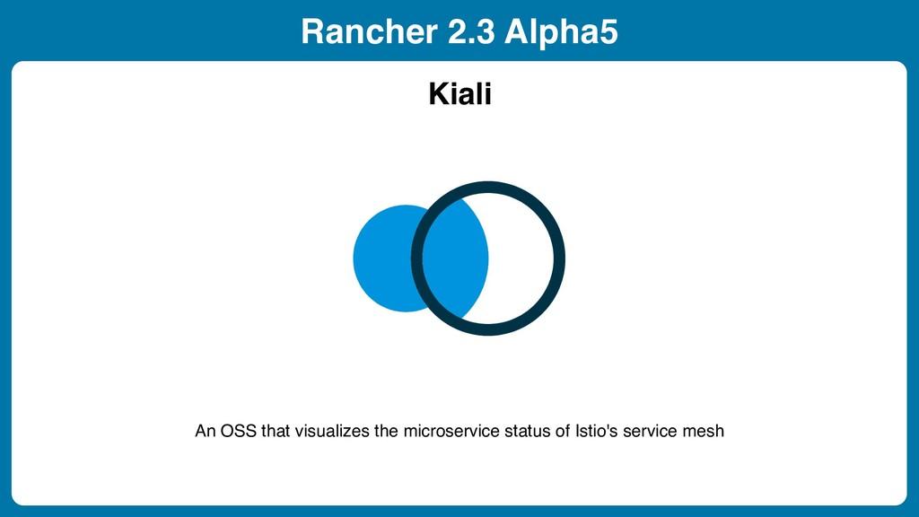 Rancher 2.3 Alpha5 Kiali An OSS that visualizes...