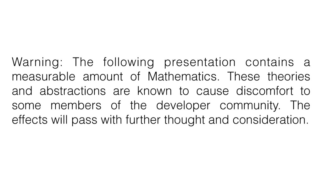 Warning: The following presentation contains a ...