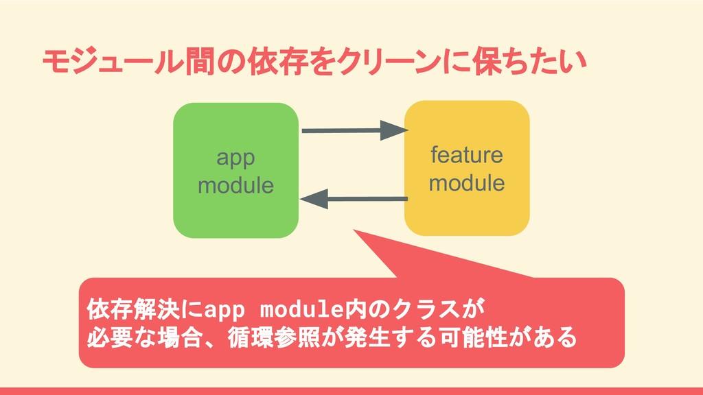 モジュール間の依存をクリーンに保ちたい app module feature module 依...