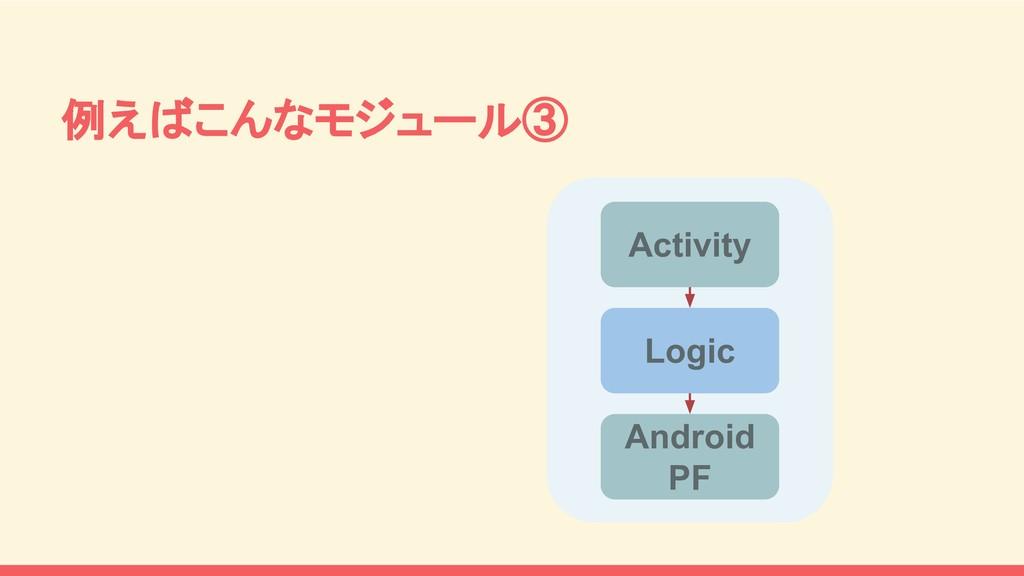 例えばこんなモジュール③ Activity Logic Android PF