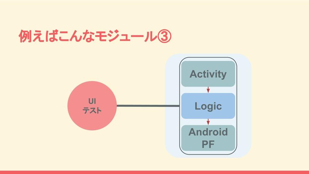Activity Logic Android PF UI テスト 例えばこんなモジュール③