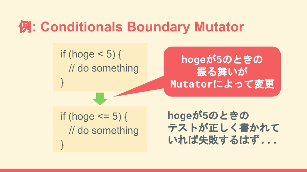 例: Conditionals Boundary Mutator if (hoge <= 5)...