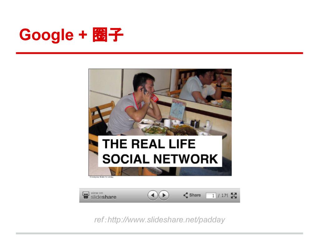 Google + 圈子 ref:http://www.slideshare.net/padday