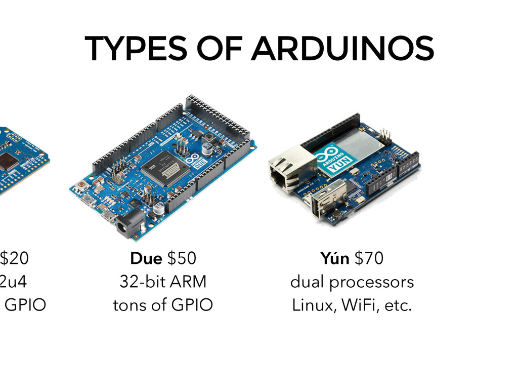 TYPES OF ARDUINOS Due $50 32-bit ARM tons of GP...
