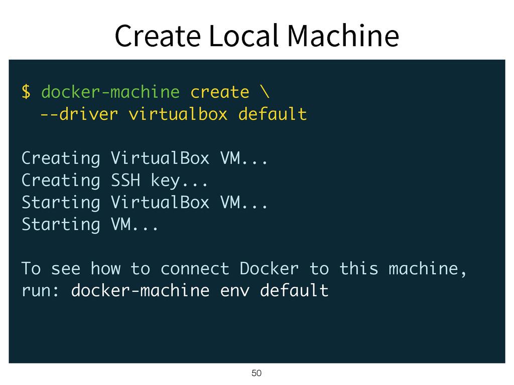 $SFBUF-PDBM.BDIJOF 50 $ docker-machine create...