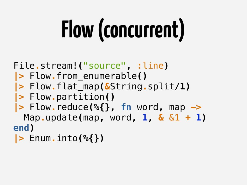 "Flow (concurrent) File.stream!(""source"", :line)..."