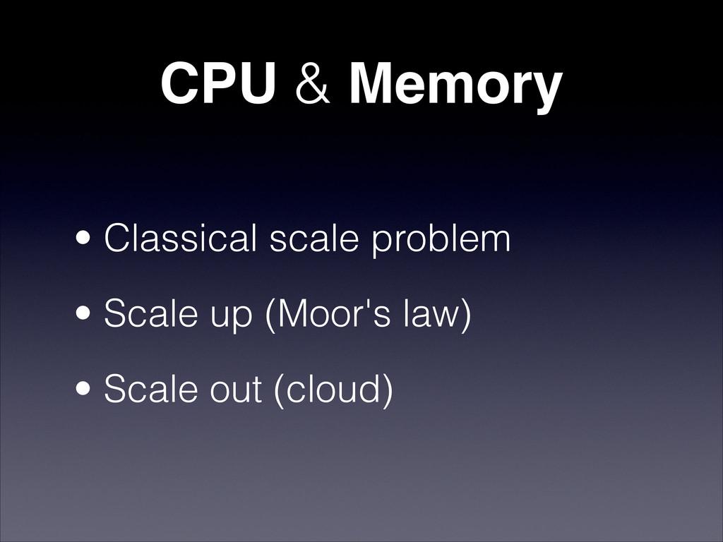 CPU & Memory • Classical scale problem • Scale ...