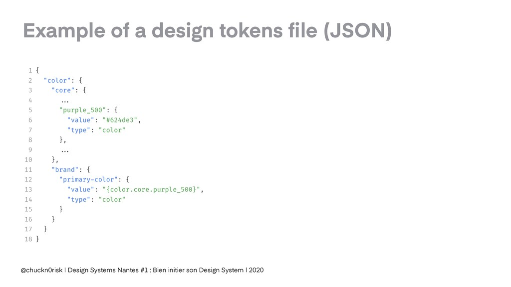 Example of a design tokens file (JSON) @chuckn0r...