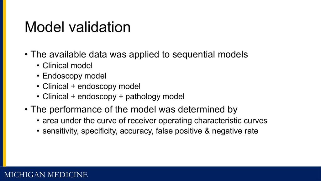 MICHIGAN MEDICINE Model validation • The availa...