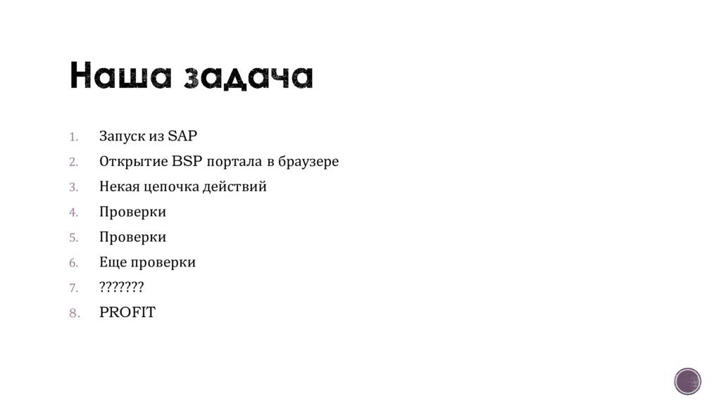 1. Запуск из SAP 2. Открытие BSP портала в брау...