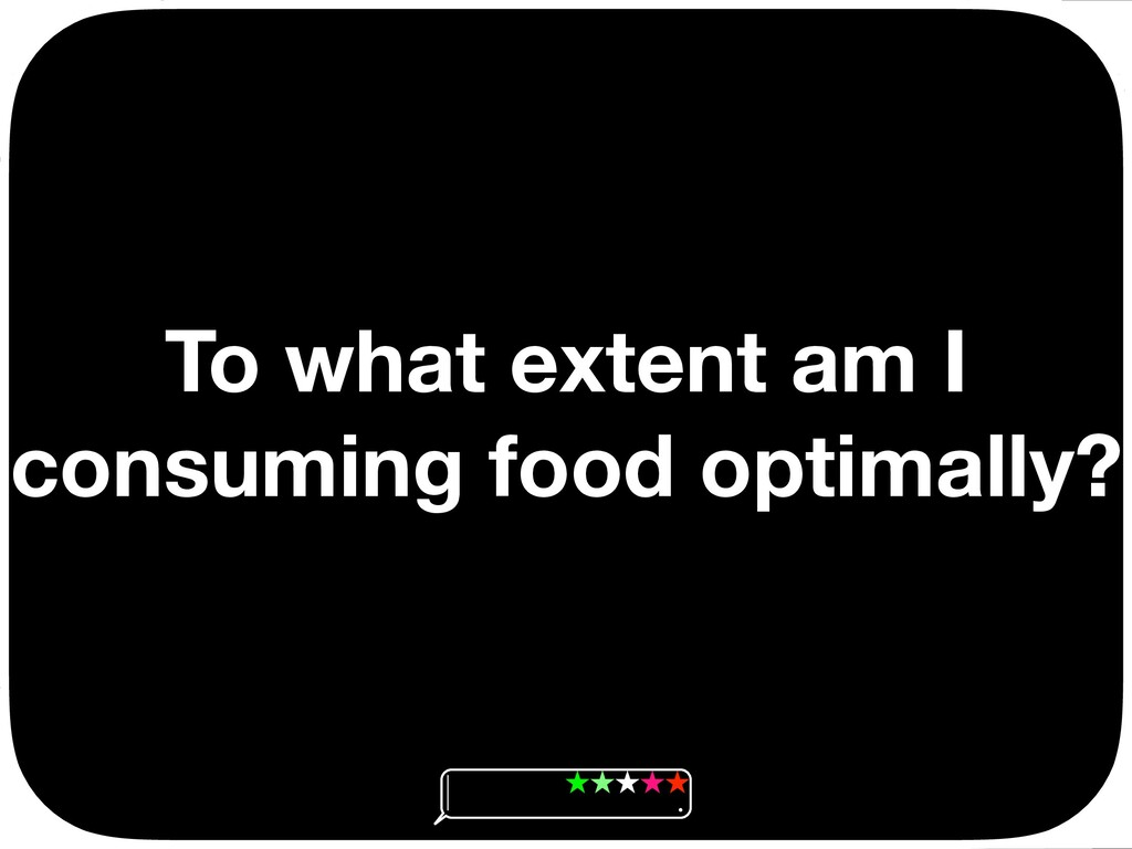 To what extent am I consuming food optimally? Ç...