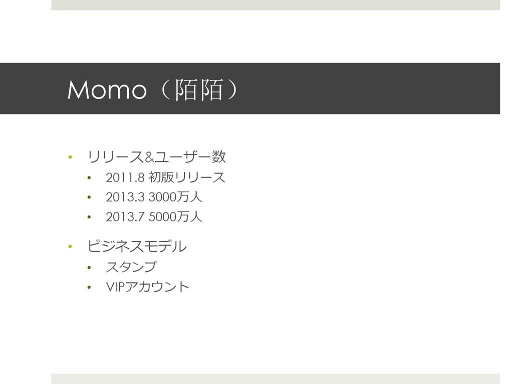 Momo(陌陌) • リリース&ユーザー数 • 2011.8 初版リリース • 2013...