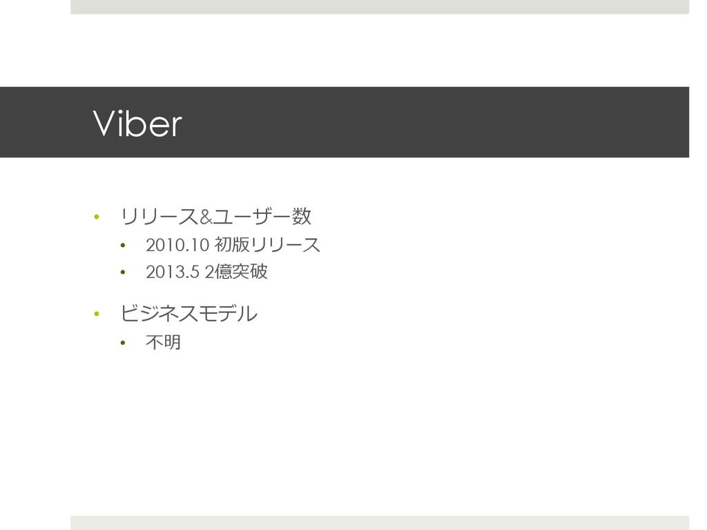 Viber • リリース&ユーザー数 • 2010.10 初版リリース • 2013.5...