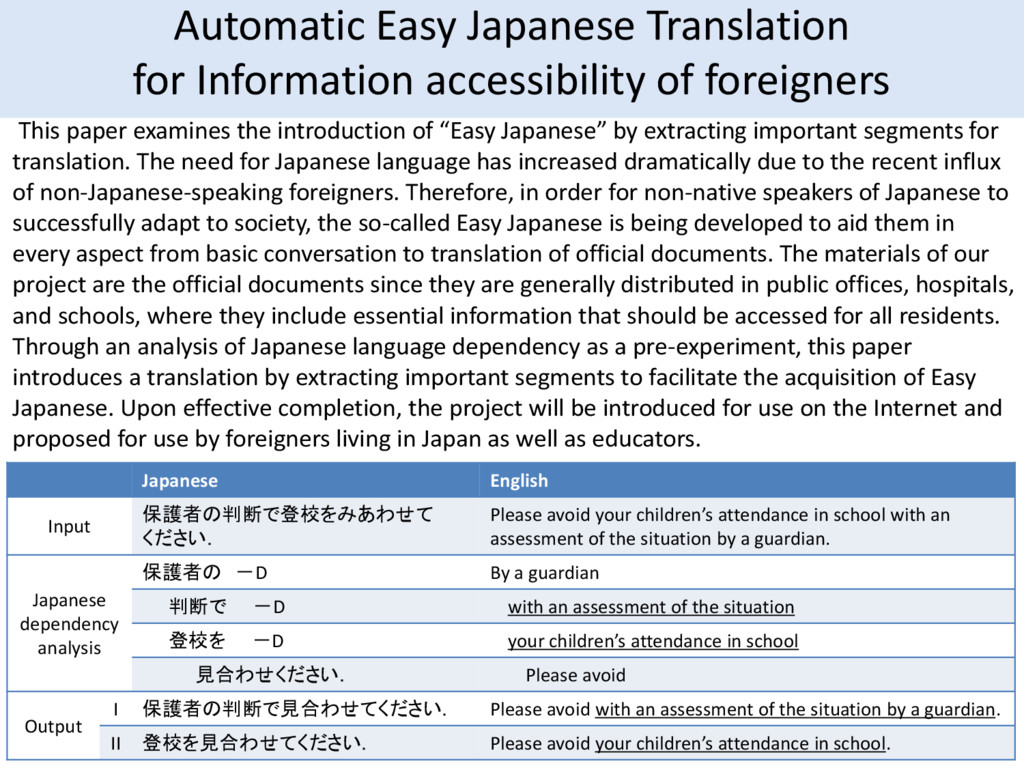 Automatic Easy Japanese Translation for Informa...
