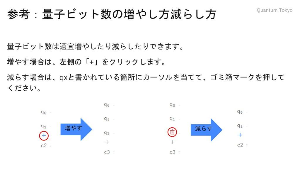 Quantum Tokyo 参考:量子ビット数の増やし方減らし方 量子ビット数は適宜増やしたり...