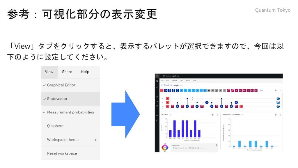 Quantum Tokyo 参考:可視化部分の表示変更 「View」タブをクリックすると、表示...