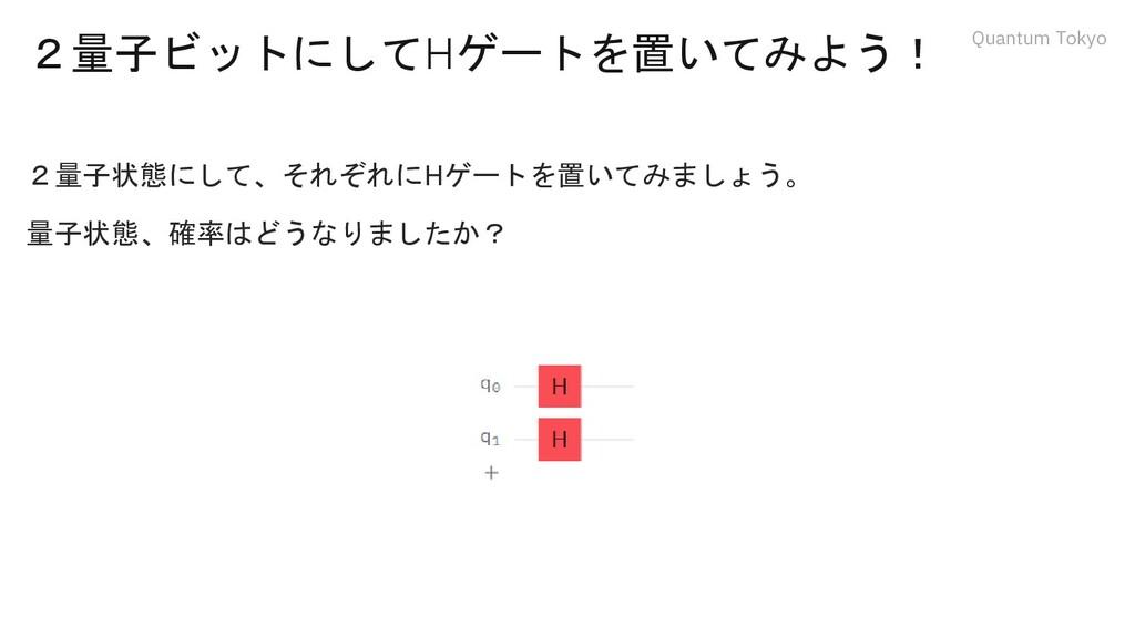 Quantum Tokyo 2量子ビットにしてHゲートを置いてみよう! 2量子状態にして、それ...