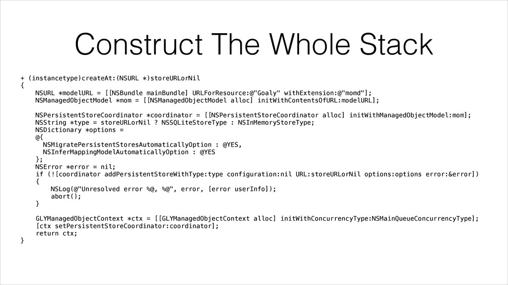 Construct The Whole Stack + (instancetype)creat...
