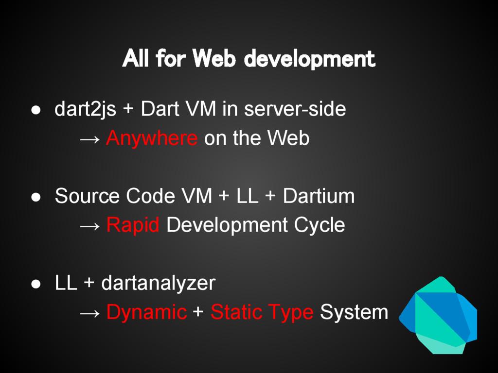 All for Web development ● dart2js + Dart VM in ...