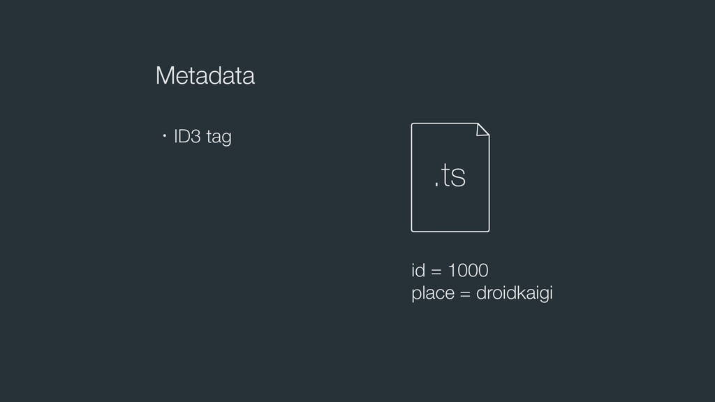 Metadata ɾID3 tag .ts id = 1000 place = droidka...