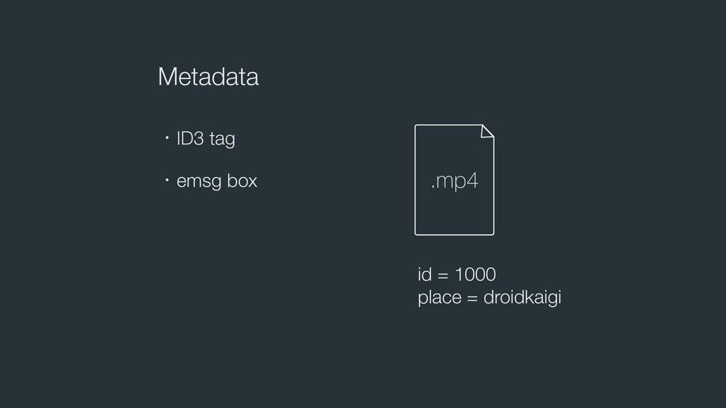 Metadata ɾID3 tag id = 1000 place = droidkaigi ...