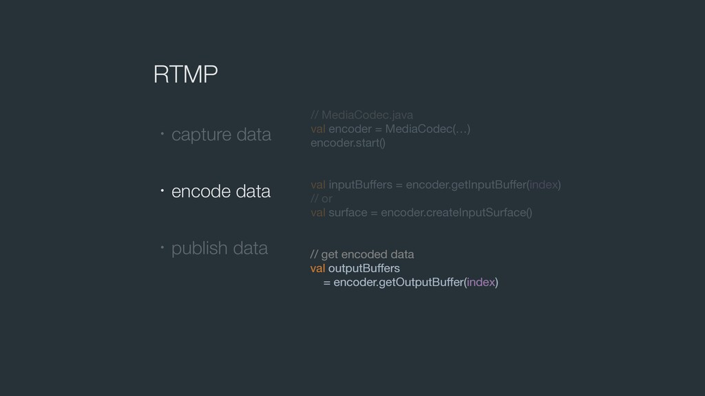 RTMP ɾcapture data ɾencode data ɾpublish data /...