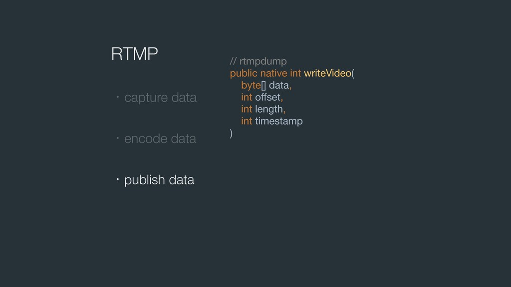 RTMP // rtmpdump  public native int writeVideo(...