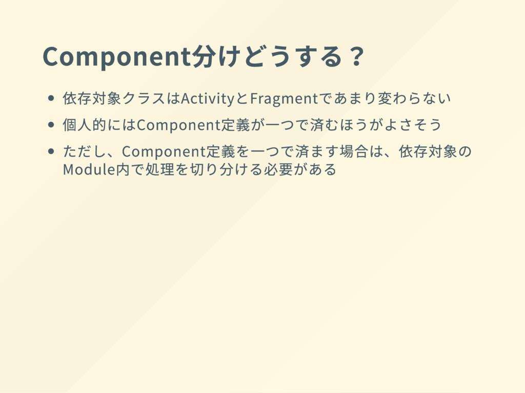 Component 分 け ど う する? 依存対象クラスは Activity と Fragm...