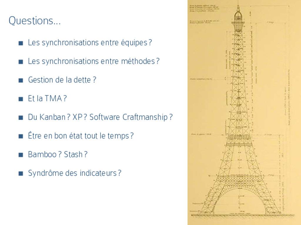 Questions… Les synchronisations entre équipes ?...