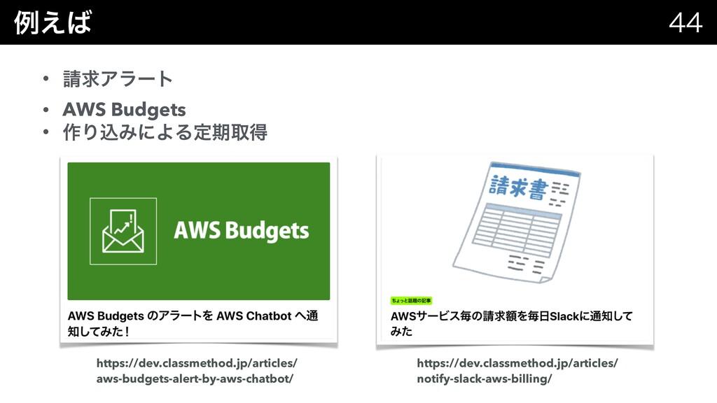 ྫ͑  • ٻΞϥʔτ • AWS Budgets • ࡞ΓࠐΈʹΑΔఆظऔಘ htt...
