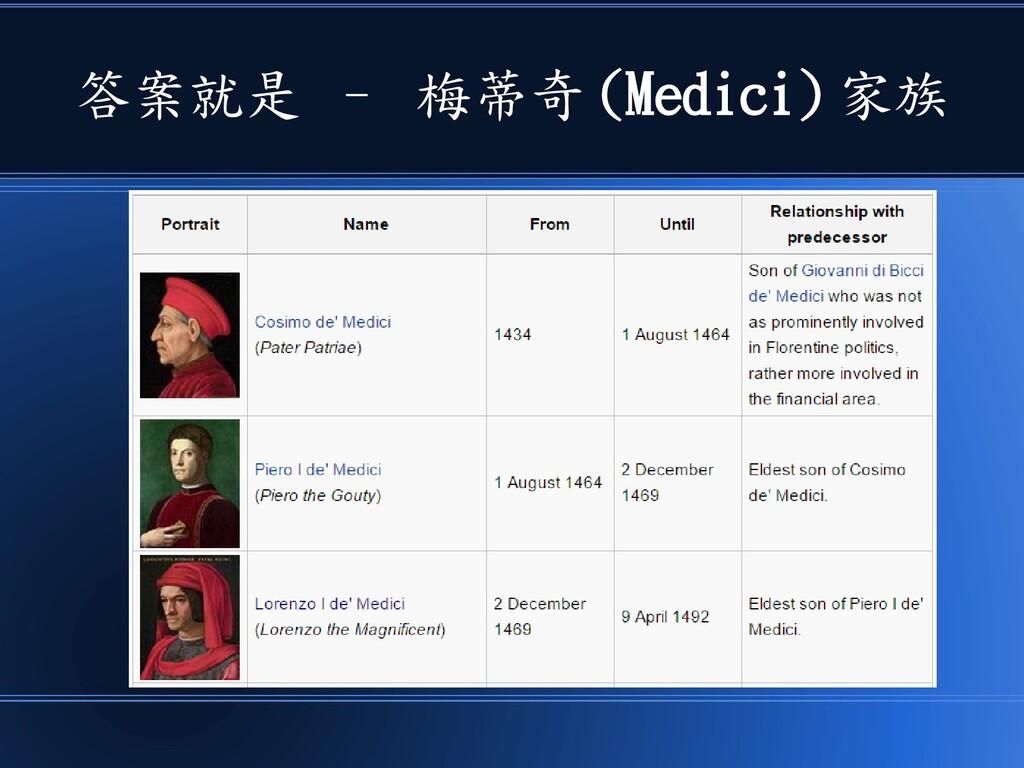 答案就是 – 梅蒂奇 (Medici) 家族