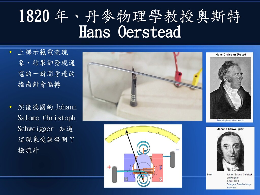 1820 年、丹麥物理學教授奧斯特 Hans Oerstead ● 上課示範電流現 象,結果卻...