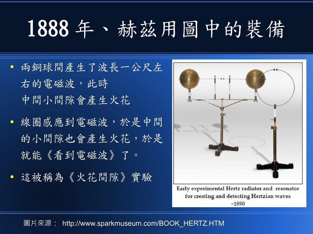 1888 年、赫茲用圖中的裝備 ● 兩銅球間產生了波長一公尺左 右的電磁波,此時 中間小間隙會...
